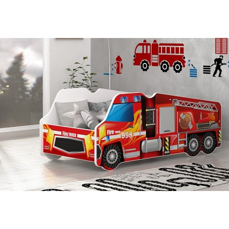 Fire Engine car junior bed with mattress 140x70 cm
