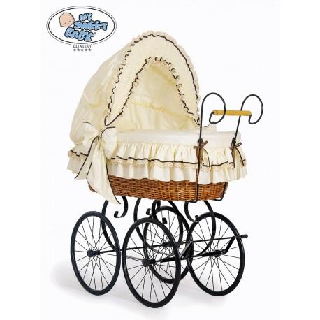 Wicker Crib Vintage Retro - Cream-Black