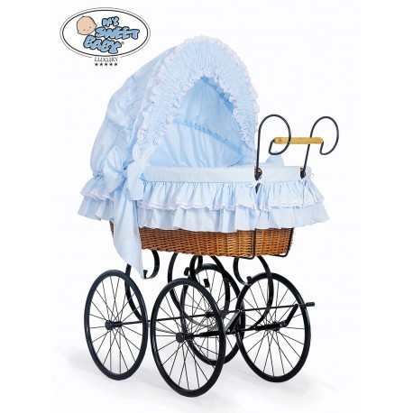 Wicker Crib Moses basket Vintage Retro - Blue-Black