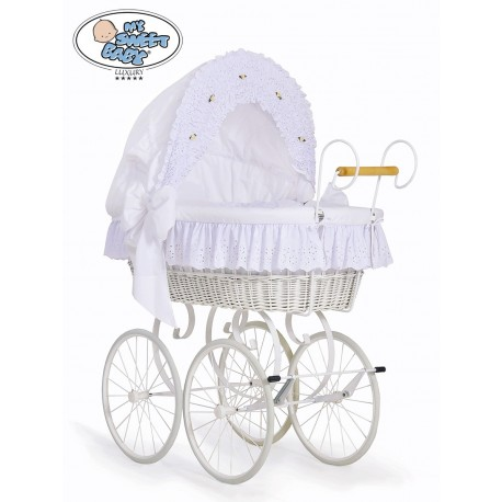 Wicker Crib Moses basket Vintage Retro - White
