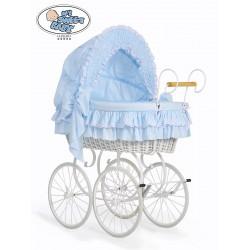 Wicker Crib Moses basket Vintage Retro - Blue-White