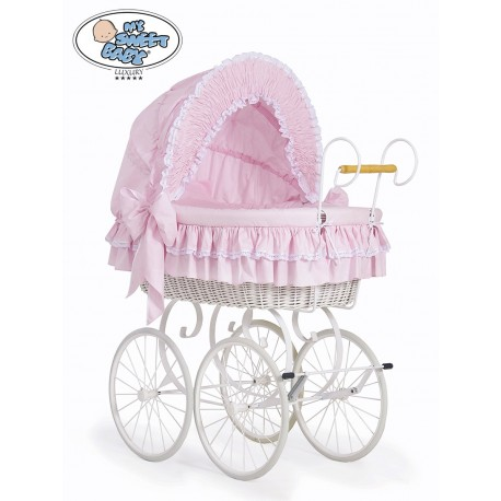 Wicker Crib Moses basket Vintage Retro - Pink-White