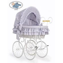 Wicker Crib Moses basket Vintage Retro - Grey-White