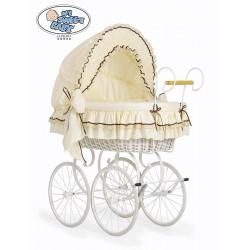 Wicker Crib Vintage Retro - Cream-White