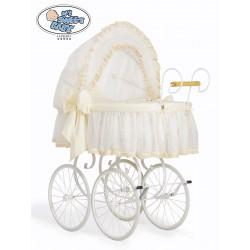 Wicker Crib Moses basket Vintage Retro - Cream-White
