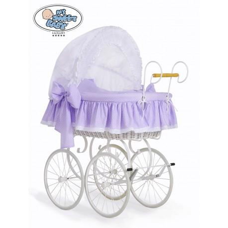 Wicker Crib Moses basket Vintage Retro - White-Lilac