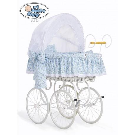Wicker Crib Moses basket Vintage Retro - White-Blue