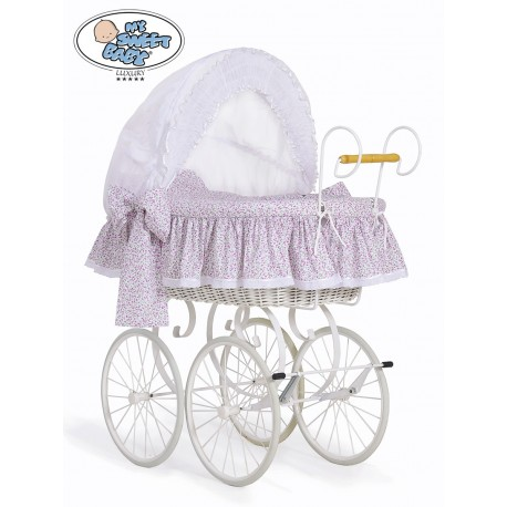 Wicker Crib Moses basket Vintage Retro - White-Pink