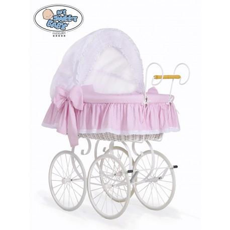 Wicker Crib Moses basket Vintage Retro - Pink