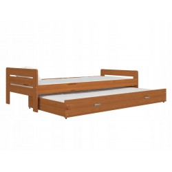 Trundle roll-out solid wood bed Ben 200x90 cm