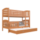 Solid pine wood roll-out bunk bed Jacob for 3 persons 180x80 cm